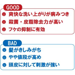 スカルプD  13代目 オイリー シャンプーの良い点と悪い点をそれぞれ3つずつ記載した画像