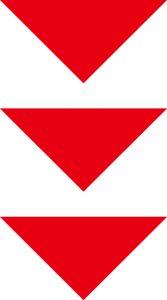 下を向いている赤い三角形の矢印が三つ並んでいる画像