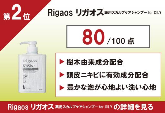 Rigaosリガオス薬用スカルプケアシャンプーforOILYの画像とランキング順位と点数が記載された画像