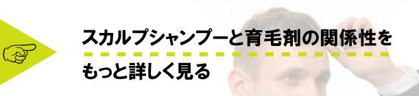 頭を触っている男性の画像の上にスカルプシャンプーと育毛剤の関係性をもっと詳しく見るとテキストが記載された画像