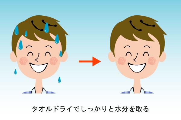男性がタオルドライでしっかりと水分を取る様子のイラスト